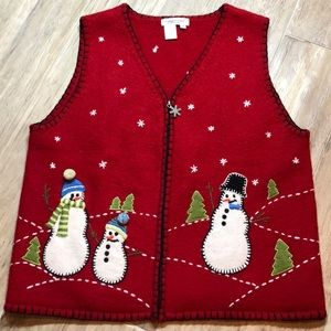 Coldwater Creek 100% Wool Holiday Vest